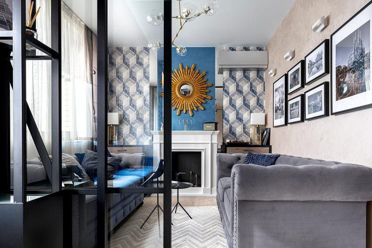 Дизайн интерьера гостиной общий вид ЖК Солнечный остров