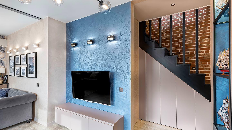 Дизайн интерьера гостиной ЖК Солнечный остров