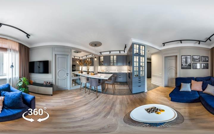 Панорамный тур интерьера 360 в Классическом стиле 2020г. bochkoff.ru