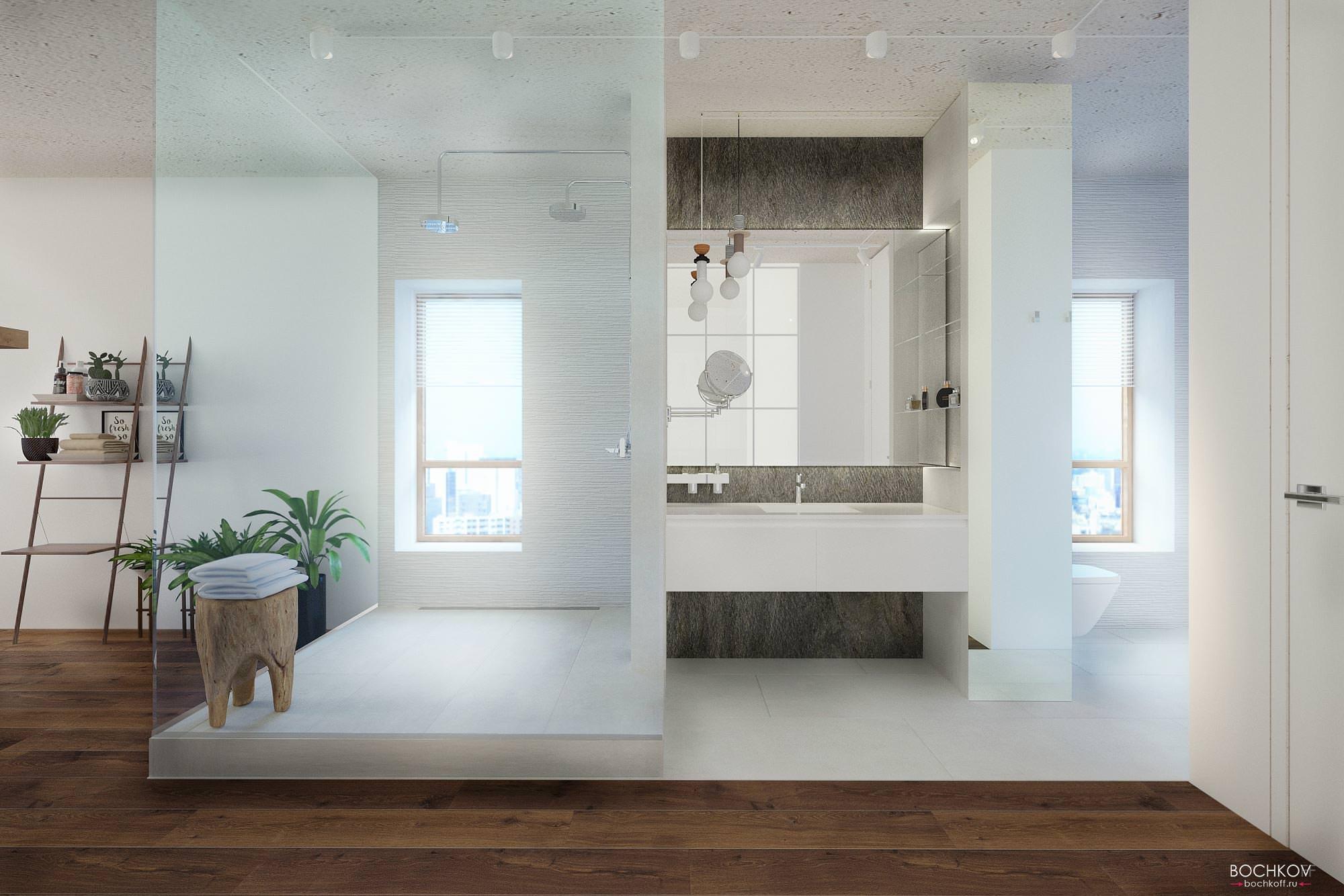 Фронтальный вид ванной комнаты в спальне, Дизайн интерьера в ЖК Макаровский 2020г.