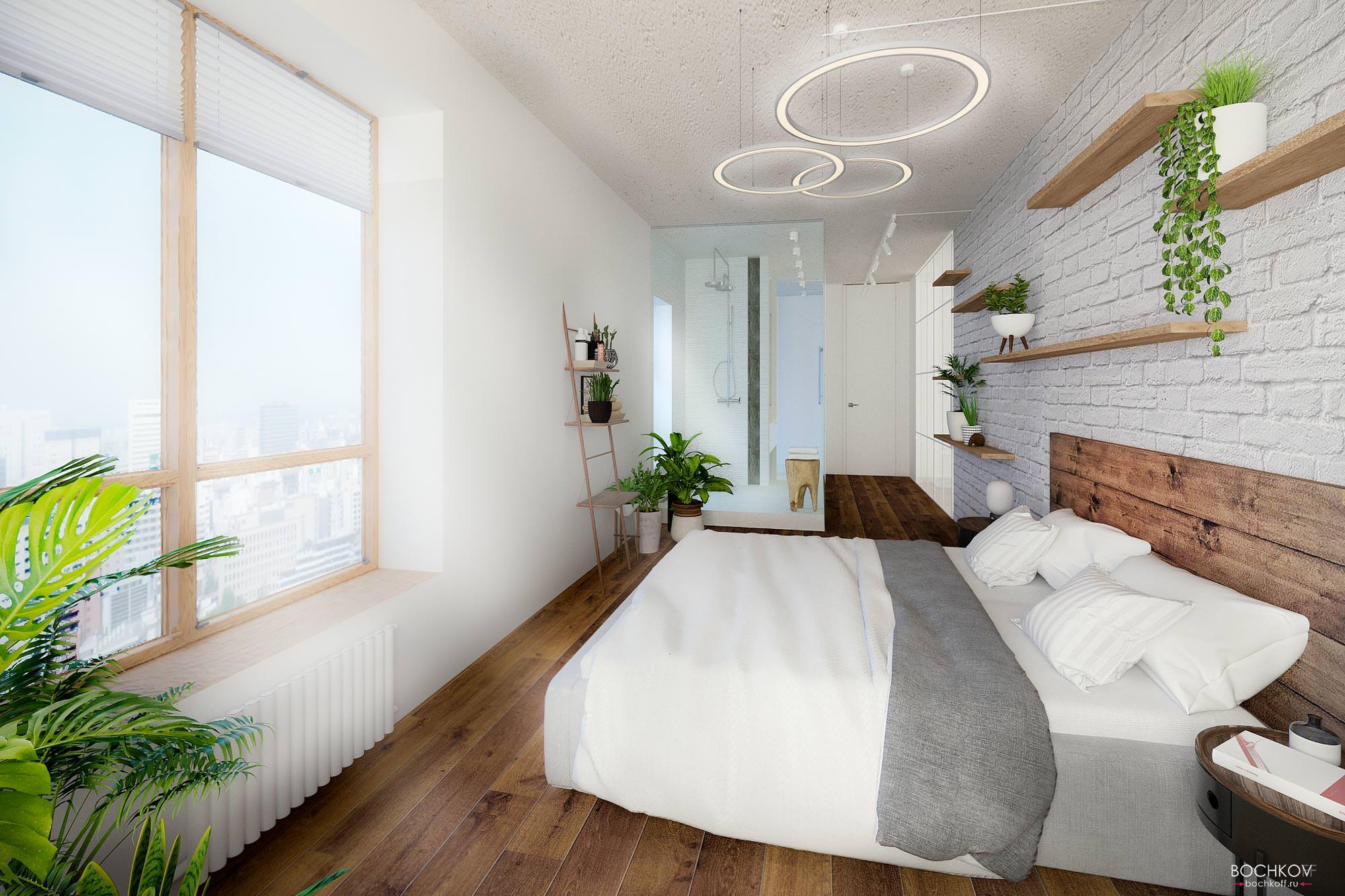 Спальная комната с видовым окном, Дизайн интерьера в ЖК Макаровский 2020г.
