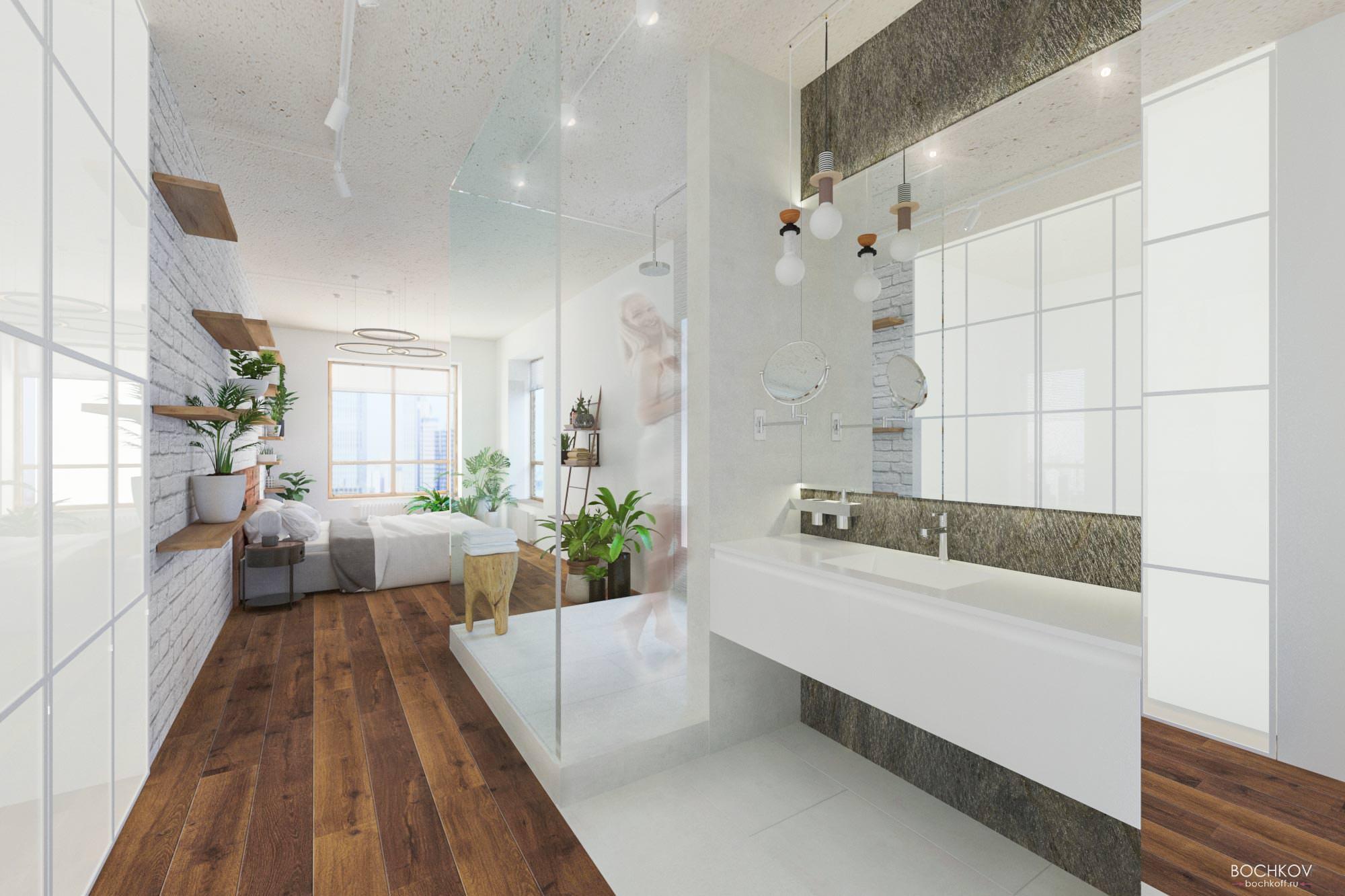 Спальная с ванной комнатой, Дизайн интерьера в ЖК Макаровский 2020г.