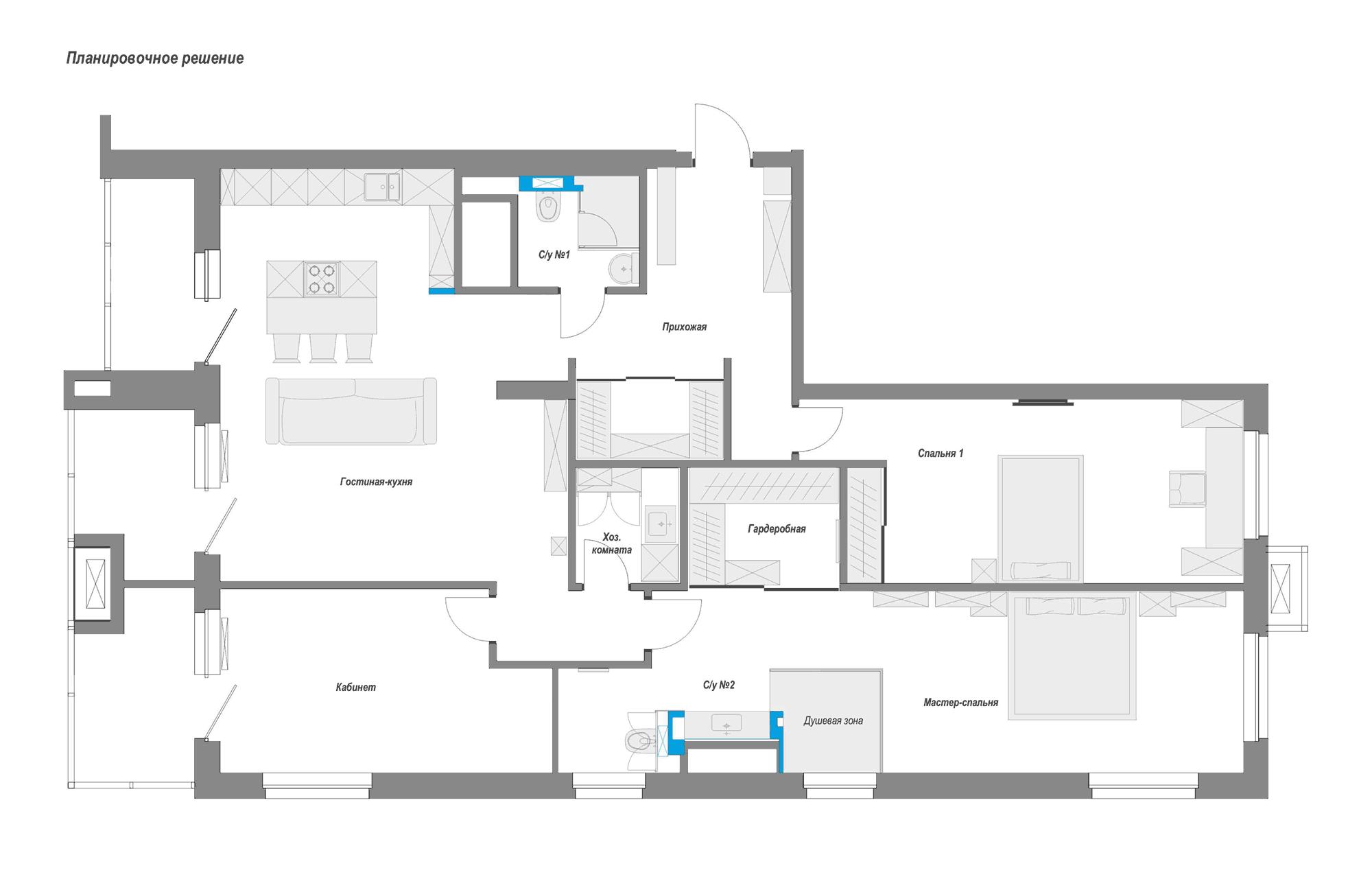 Планировка квартиры, Перепланировка, Дизайн интерьера в ЖК Макаровский 2020г.