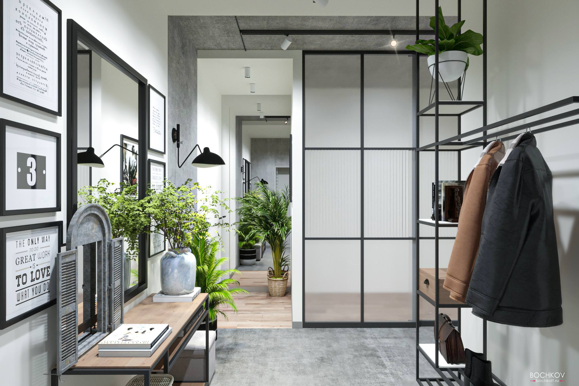 Прихожая — вид от входа в квартиру, Дизайн интерьера в ЖК Макаровский 2020г.