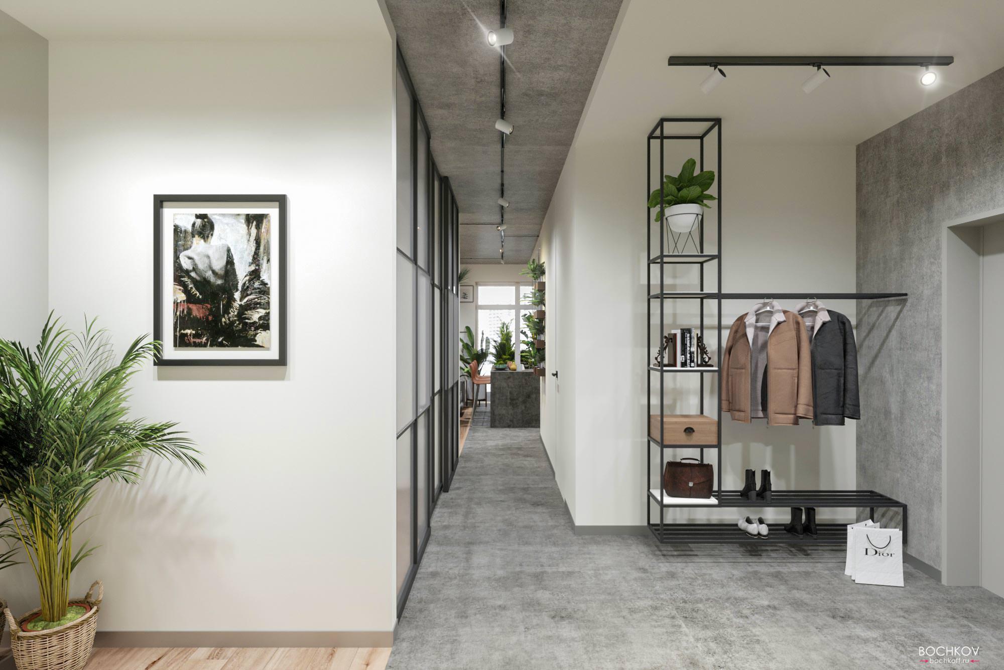 Прихожая с видом на коридор, Дизайн интерьера в ЖК Макаровский 2020г.