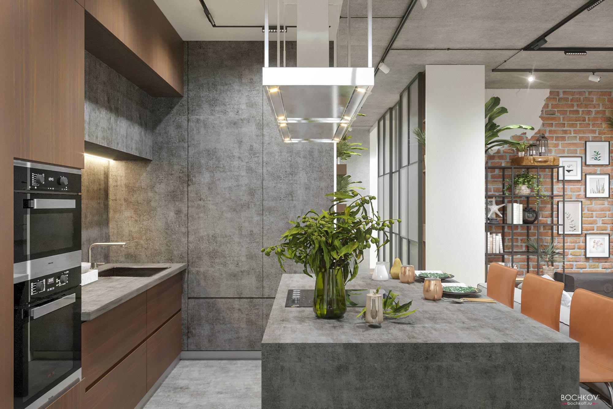 Общий план кухни, Дизайн интерьера в ЖК Макаровский 2020г.
