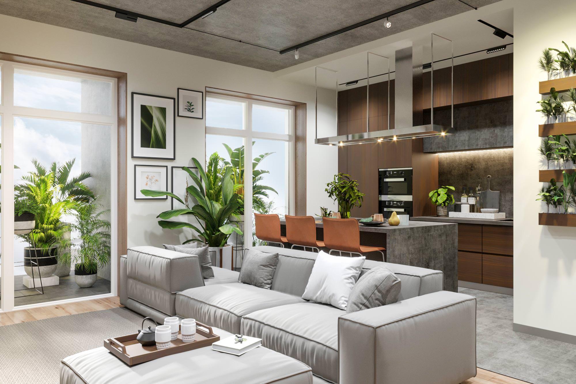 Студия, Общий вид гостиной и кухни с обзором на кухню, Дизайн интерьера в ЖК Макаровский 2020г.
