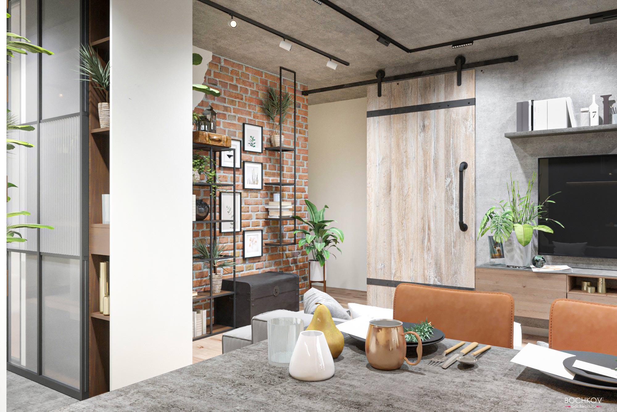 Вид из Кухни на гостиную, Дизайн интерьера в ЖК Макаровский 2020г.
