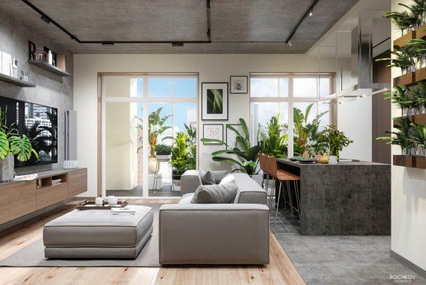 Студия, Общий вид гостиной и кухни, Дизайн интерьера в ЖК Макаровский 2020г.