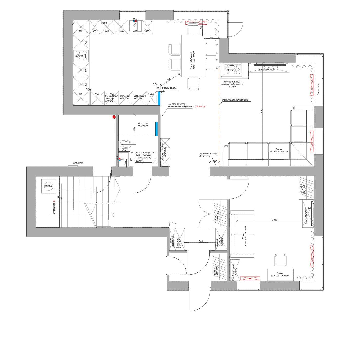 Планировка 1 этажа | Космаково 5