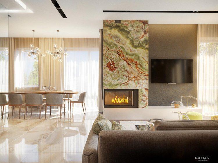Дизайн Интерьера студии, гостинная комната с камином и ТВ зоной | Космаково 5