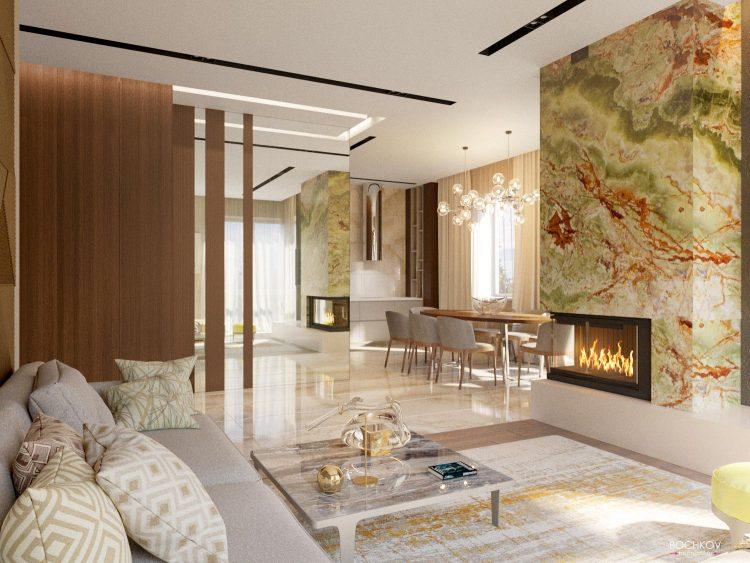 Дизайн Интерьер студии, гостинная комната с камином | Космаково 5