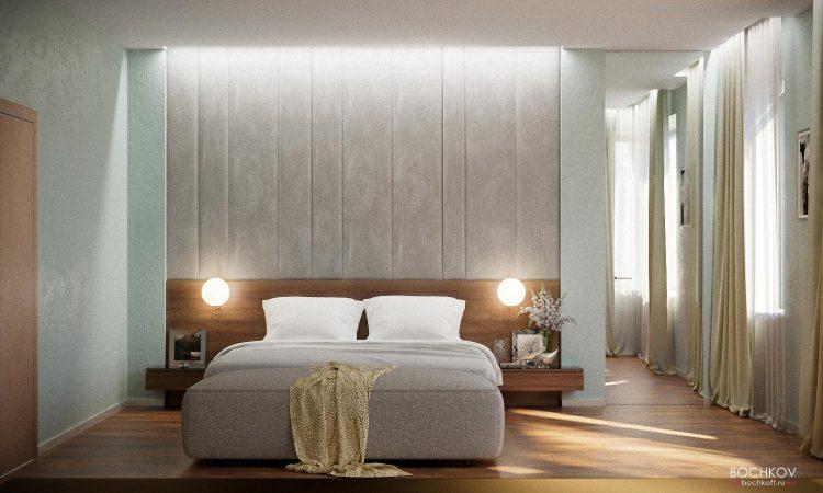 Интерьер спальной комнаты вид на кровать, мастер спальня | Космаково 5
