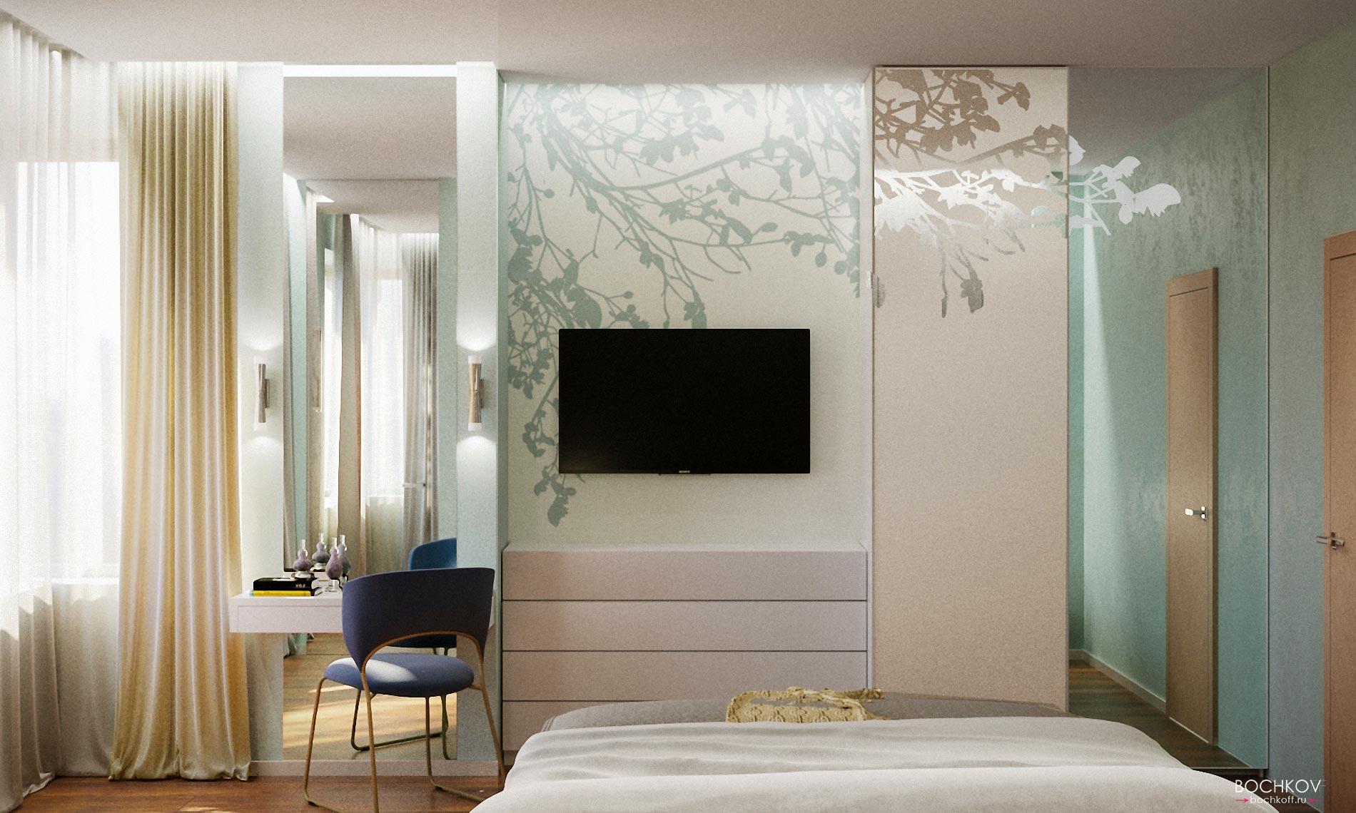 Интерьер спальной комнаты вид с кровати | Космаково 5