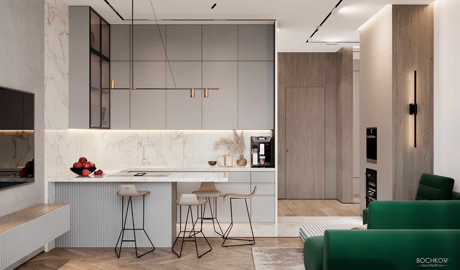 Вид с Кухонной зоны, студия, вид 1, КД Ривьера