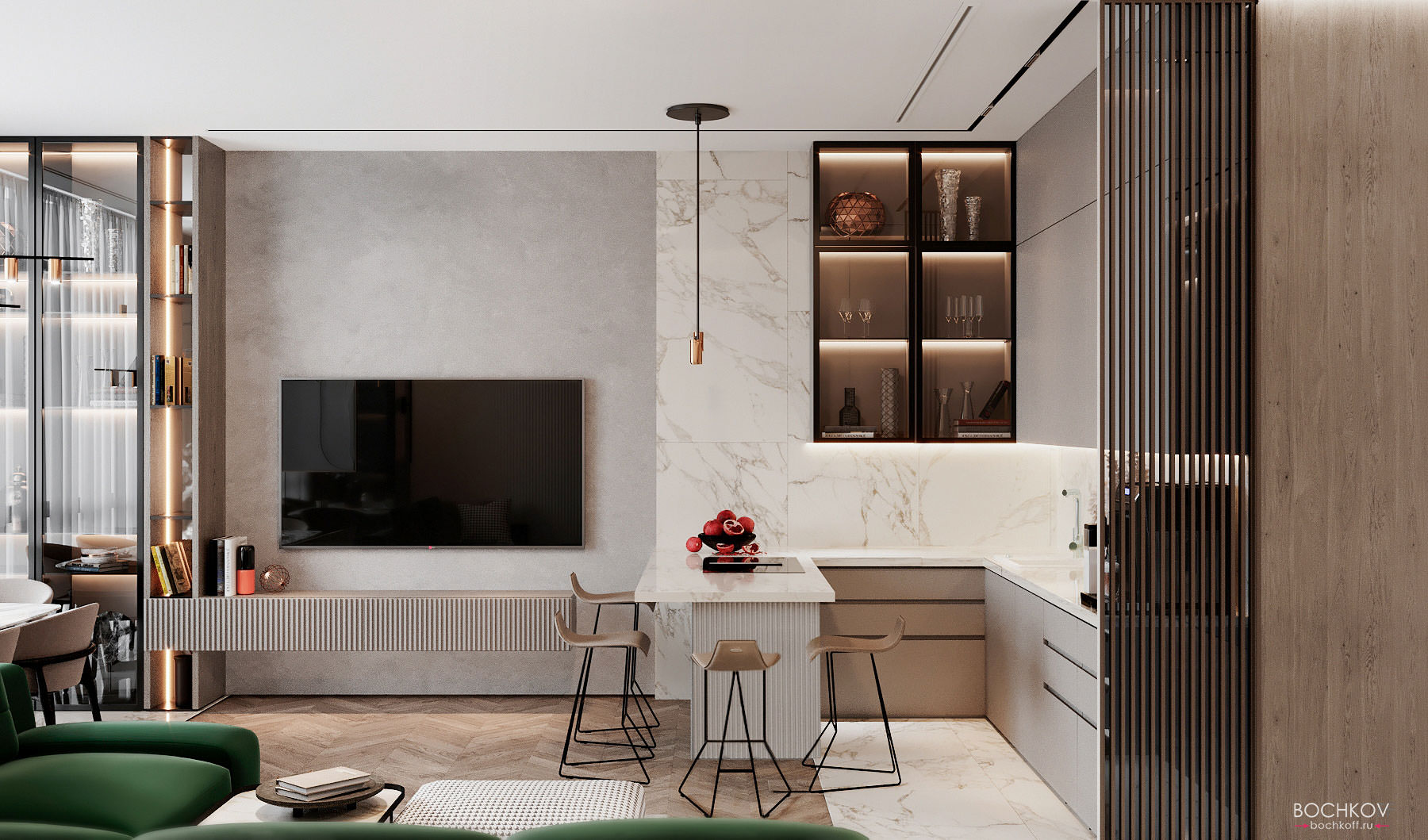 Кухня, Гостиная, студия, вид 2, КД Ривьера