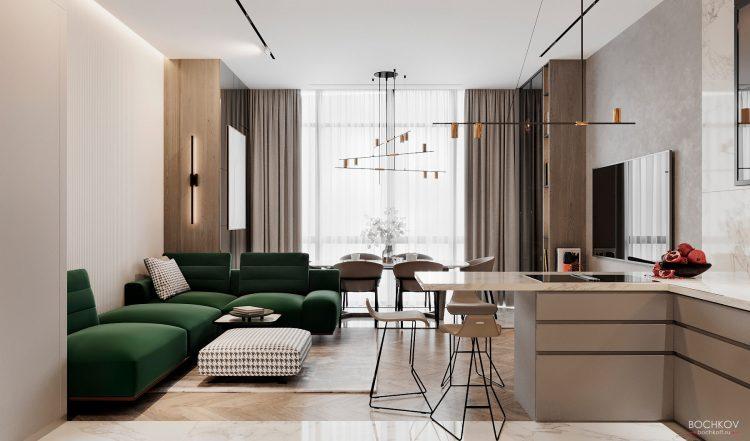 Вид с Кухонной зоны, студия, вид 3, КД Ривьера