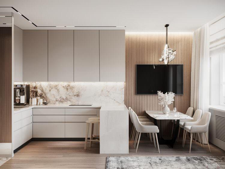 Интерьер студии: обеденная зона и кухонный гарнитур с барной стойкой | Компаунд Проспект мира
