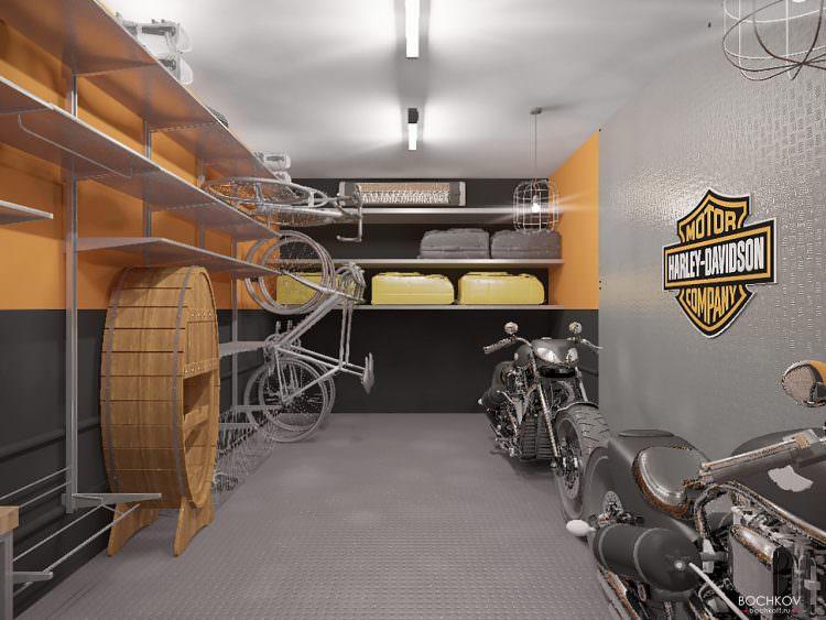 вид от входа, дизайн интерьера гаража